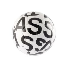 "this uniquely designed soccer ball that's meant for more than kicking around in a friendly game of footie. It features an all-over print of the word ""ASS""—your favorite thing to kick, Soccer Ball, Tech Accessories, Kicks, Typography, David Beckham, Gadget, Football, Gift Ideas, Design"