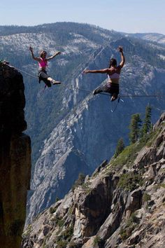 Doubles on a Highline at Taft Point Line Photography, High Line, Outdoor Workouts, Extreme Sports, Rock Climbing, Stunts, The Great Outdoors, Surfing, Travel