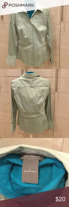 Work or play mint chemise Stretchy beautiful mint green button shirt. 97% cotton 3% spandex. Ann Taylor Tops Button Down Shirts