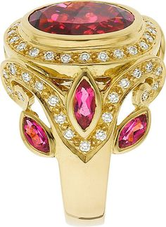 Paula Crevoshay Pink Tourmaline and Diamond Ring
