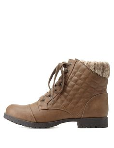 Taupe Qupid Sweater-Cuffed Quilted Combat Booties by Qupid at Charlotte Russe