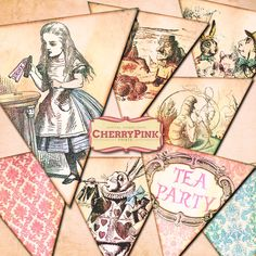ALICE in WONDERLAND BUNTING decorations, digital printable bunting download for your diy party by CherryPinkPrints on Etsy https://www.etsy.com/listing/101992165/alice-in-wonderland-bunting-decorations