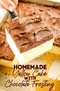 Homemade Yellow Cake with Chocolate Frosting | Is Yellow Cake with Chocolate Frosting your all-time favorite? Then this fluffy, delicious Buttermilk Cake recipe is right up your alley. This homemade buttermilk sheet cake is made in a 9×13 inch pan making is really simple to make, frost, and enjoy. To take care of your dessert and sweet cravings, try this simple baking recipe for the best homemade yellow cake with chocolate icing || Delightful E Made