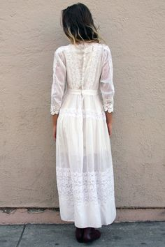 Vintage White Victorian Lace Dress - Handmade Clothing by #TavinShop on #Etsy.