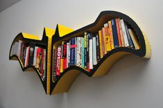 Na na na na — Batshelf! Squeeze graphic novels and various books about justice into this handmade Batman Bookshelf ($277).