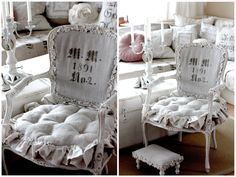 Ruffled Buttons Burlap Chair. Grey, Black, Chippy, Shabby Chic, Whitewashed, Cottage, French Country, Rustic, Swedish decor Idea. ***Pinned by oldattic ***.