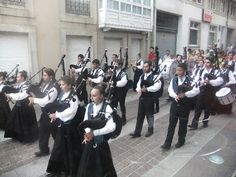 Europe: Galician celts celebrating their heritage and culture by playing bagpipes, Galicia, Spain