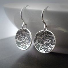 Sterling Silver Earrings - Etched Rose Garden Saucers