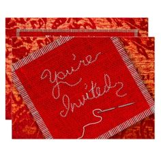 SEWING/QUILTING PARTY INVITATION - RED FABRICS