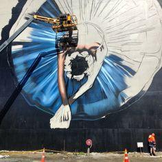 oi-you-streetart: starting to apply some detail to the ballerina's body Art Festival, Inspiration, Painting, Ballerina Body, Anime, Art Inspiration, Street Art