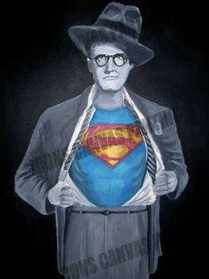 """Superman George Reeves Art iCONS Canvas Portrait  18"""" x 24"""", acrylic, handpainted by Aristotle Allen"""