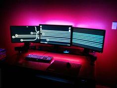 Triple Monitor Gaming setup, PC Battlestation via Reddit user whippy