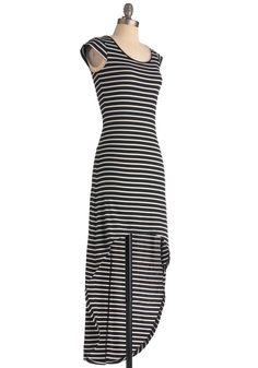 Check Matte Dress - Short, Black, White, Stripes, Casual, Cap Sleeves
