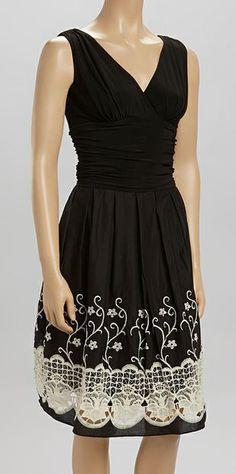 Black & Ivory Floral Lace V-Neck Dress