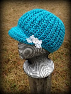 Turquoise teal blue visor beanie hat with brim and by JubileeJP, $25.00