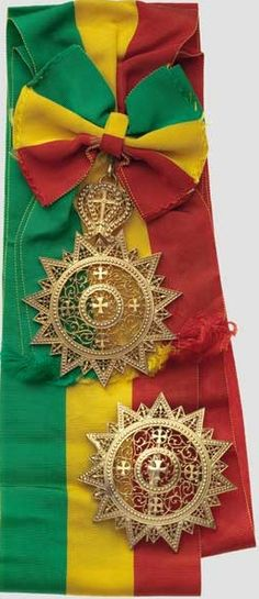 Ethiopia Order of Star, grand cross set comprising a breast star (diameter 79mm), and a grand cross (dimensions 105 x 83mm) with sash