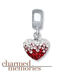 fd9ef5b06 Charmed Memories Crystal Heart Charm Sterling Silver Pandora Beads, Pandora  Bracelet Charms, Pandora Jewelry