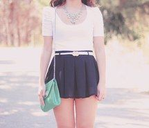 Inspiring picture bag, fashion, necklace, mint, outfit, pleated, shorts, skirt. Resolution: 600x400. Find the picture to your taste!
