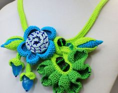 Crochet Necklace Flower Crochet Necklace by JewelryBeadsByKatie