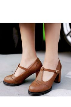 """Vintage Brown T-Strap High Heel Shoes ~ Same as the black ones, size range included. Must be gauged to Asian feet, which apparently are much smaller than my """"big girl size"""" 11's!!  IF I were still working in an office setting, AND IF I could get them in my size, I'd probably buy three or four pair just like these in different colors, and live in them!! I love these! But, you know what they say - """"IF"""" is the biggest little word in the world!"""