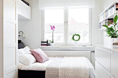 decocrush. Pretty white room with clever design for a small space.