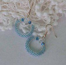 Náušnice - Modré náušnice so swarovski - kruhy - 6456280_