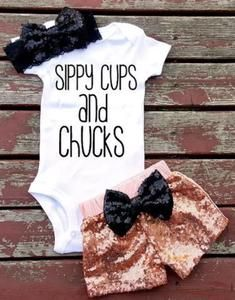 Baby Girl Sippy Cup and Chucks Outfit Set