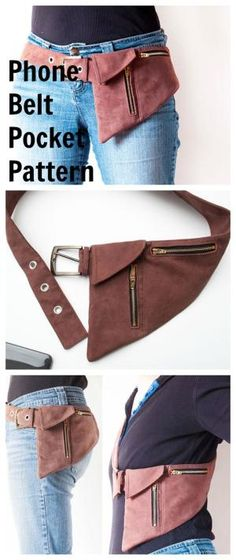 PDF downloadable sewing pattern for this Phone Belt Pocket Pattern or Hipster Bag. by milagros