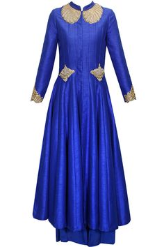 Royal blue zardozi embroidered anarkali jacket and palazzo pants  by Aharin. Shop now: www.perniaspopupshop. #anarkali #aharin #pretty #clothing #ethnic #shopnow #perniaspopupshop #happyshopping