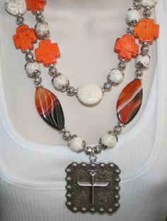 Cowgirl Western Concho Statement Necklace, Chunky Agate Jewelry, Big Bold White Turquoise Rodeo Necklace, Chunky White Magnesite Jewelry by 123gemstones, $65.00 USD