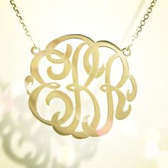 monogram gold necklace for bridesmaids