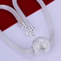 Big Pendant Ball Silver Necklace