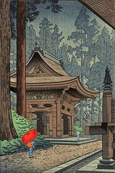 Asano Takeji Japanese Woodblock Print Vintage Mid Century Art Shinto Shrine Forest Poster by tokugawa Japanese Artwork, Japanese Painting, Japanese Prints, Japan Illustration, Samurai, Japanese Woodcut, Painting Prints, Art Prints, Temples
