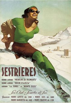 Travel Poster by Gino Boccasile (1901-1952), ca. 1950, Sestriere. (Alpine Village in Italy, Province of Turin)