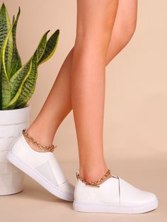 Shop White Faux Leather Low Top Ankle Chain Flats online. SheIn offers White Faux Leather Low Top Ankle Chain Flats & more to fit your fashionable needs.