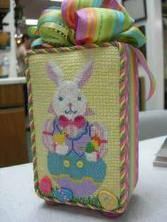 darling Easter bunny needlepoint decorative box