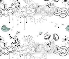 Bird love in the air fabric by ellila on Spoonflower - custom fabric