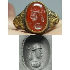 Antique Gold Gilded Agate Stone Silver Face Roman Ring # S | eBay