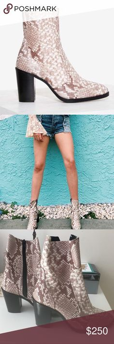 LF Stores snake skinned boots brand new Size 36 Euro which translates to a US size 6 brand new shoes completely gorgeous !!! I love these shoes but I'm a size 7 so they're way too small. No trades ! Cheaper offsite <3 completely sold out on the website LF Shoes Ankle Boots & Booties
