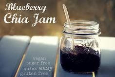 Blueberries, water and chia seeds for great homemade jam! Gluten free, low sugar, healthy, low fat