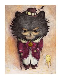 """Nathan Jurevicius  Harlow  The original Harlow is done in pen, Ink and watercolor. Jurivicius says this piece is """"based on Harlow, a cute but evil Pomeranian puppy living in Providence, Rhode Island.""""    Cave canem - beware of the dog. Indeed, exercise more caution than usual around this pomeranian! A pooch with a 'tude, Harlow at least has a redeeming sense of style and fashion.    He also possesses (courtesy of his artist/master, perhaps?) an appreciation for literary allusion. Our friend…"""