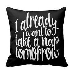 "18""*18"" Black Canvas Quote ""...TAKE A NAP..."" Throw Pillow Cushion Cover"