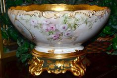 Limoges Fabulous Signed Rose Filled Punch Bowl with Cherubs/Angels and Matching Gold Leaf Encrusted Plinth