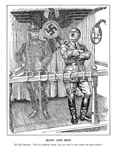 "Bluff and Iron. The Old Chancellor. ""Not my methods exactly, but you seem to have nearly the same success."" (The ghost of Otto von Bismarck holds Schleswig-Holstein in his hands behind Hitler at a Nazi rally political broadcast, the German eagle stamped with a Swastika) - Punch magazine cartoon by Bernard Partridge, 1938 relating to the Czechoslovak Crisis"