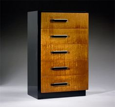 Donald Deskey, Bird's Eye Maple and Lacquered Wood Dresser for Widdicomb, c1935.
