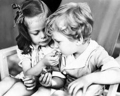Young Robert Plant of Led Zeppelin with his sister