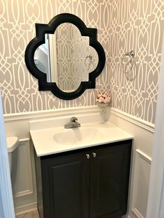 Powder Room Update Week 3 - How to add wainscoting boxes to a tiny bathroom
