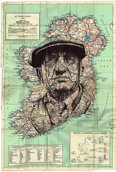 Ballpoint pen drawing of a man on a vintage map #art #drawing #vintage #pen #penart #ballpointpen #bic