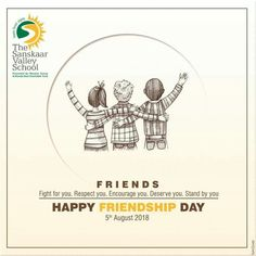 The Sanskaar Valley School wishes you a Happy Friendship Day and hopes that you get to spend a memorable and an awesome day with all your lovely and fantastic friends. #HappyFriendshipDay #TSVS #ShikharStudents #SopaanStudents #AadharStudents #PranganStudents #SVN