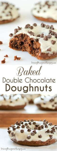 Baked Double Chocolate Doughnuts | DizzyBusyandHungry.com - Moist, chocolatey, and better-for-you because they are baked, these doughnuts sport a sweet orange glaze and semi-sweet mini morsels for garnish!